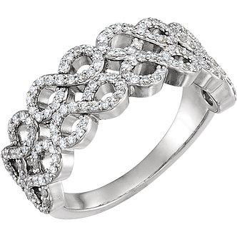 14K White Gold Diamond Infinity-Style Ring
