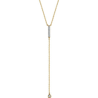 14K Yellow Gold Diamond Bar Y Necklace