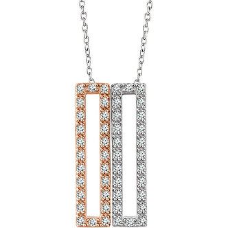 14K White & Rose Gold Diamond Rectangle Necklace