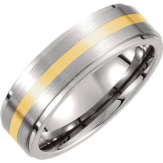 Titanium & 14K Yellow Inlay Ridged & Satin Finished Band