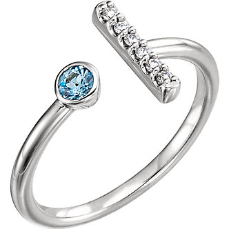 14K White Aquamarine & Diamond Bar Ring