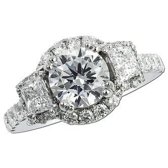 White Gold Three Stone Halo Engagement Ring