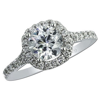 Rose & White Gold Filigree Halo Engagement Ring