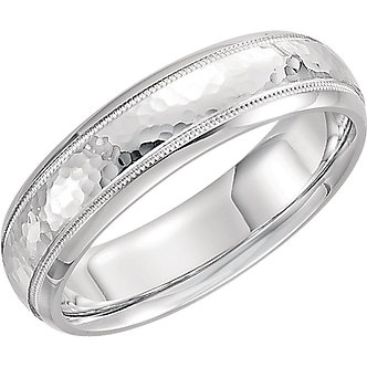 14K White Gold Comfort Fit Milgrain Hammer Finish Band