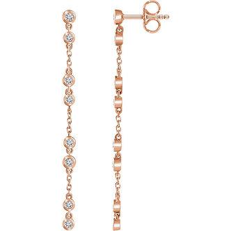 14K Rose Gold Diamond Chain Earrings