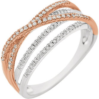 14K White & Rose Gold Criss Cross Diamond Ring