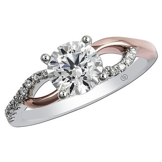 14K Rose & White Gold Diamond Swirl Engagement Ring