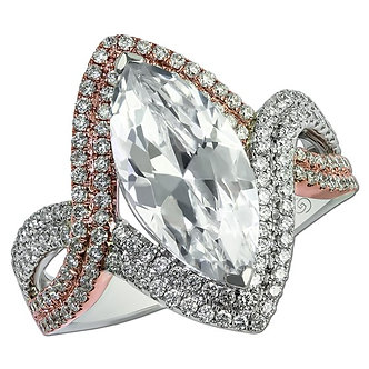 14K Rose & White Gold Double Row Halo Engagement Ring