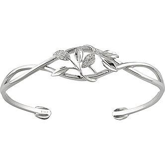 14K White Gold Diamond Leaf Design Cuff Bracelet