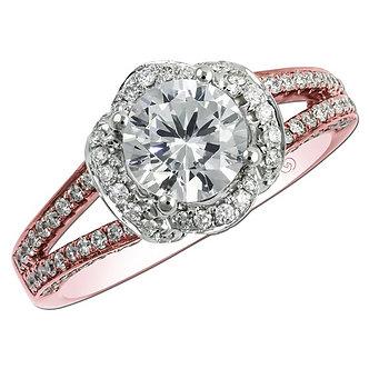 Rose Gold Petal Shaped Halo Engagement Ring