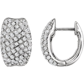 14K White Gold Pavé Hinged Earrings