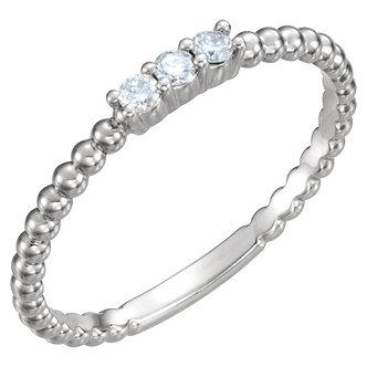14K White Gold Diamond Beaded Ring