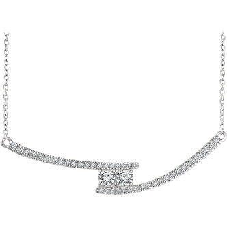 14K White Gold Diamond Two-Stone Bar Necklace