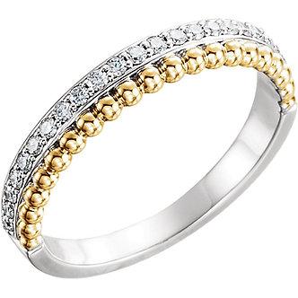 14K White & Yellow Gold Diamond Beaded Ring