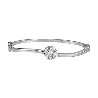 14K White Gold Diamond Circle Bangle Bracelet