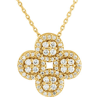 14K Yellow Gold Diamond Clover Necklace