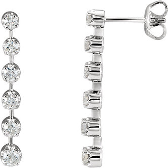 14K White Gold Diamond Linear Earrings