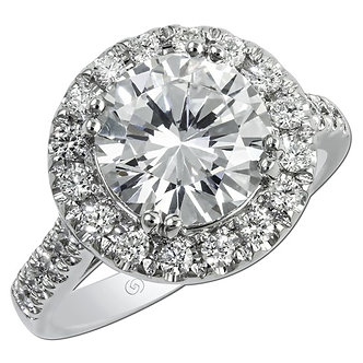 White Gold Pavé Halo Engagement Ring