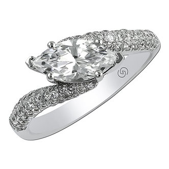 14K White Gold Pavé Center Marquise Engagement Ring