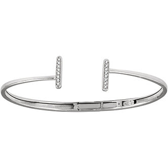 14K White Gold Diamond Vertical Bar Cuff Bracelet
