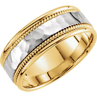 14K Yellow & White Gold Hammered Hand-Woven Band
