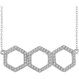 14K White Gold Diamond Geometric Necklace