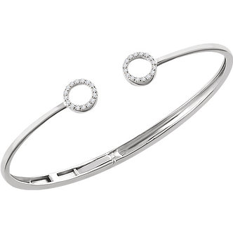 14K White Gold Diamond Circle Hinged Bangle Bracelet