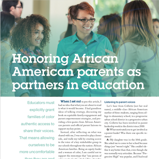 Honoring African American parents as partners in education