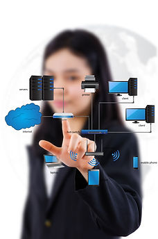 Business Lady write LAN Network diagram