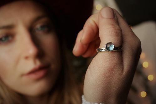 'Mountain Glacier' Topaz & Silver Ring- Size 8