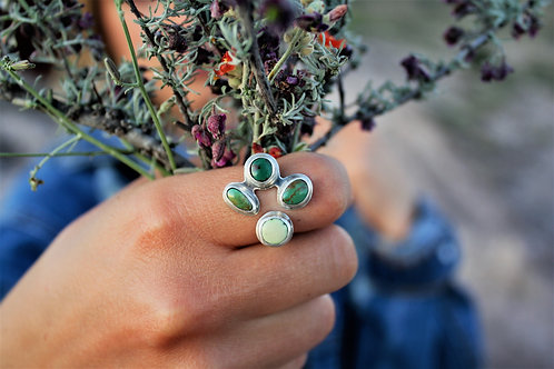 'Green Blossom' Adjustable Ring (Royston & Sonoran Gold Turquoise), Size 6-8