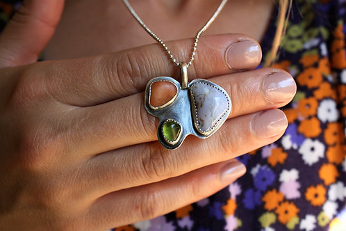 'Bloom' Necklace (Tangerine Quartz, Peridot, Blue Lace Agate)