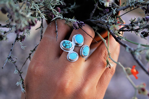 'Blue Blossom' Adjustable Ring (American Turquoise), Size 6.5-9
