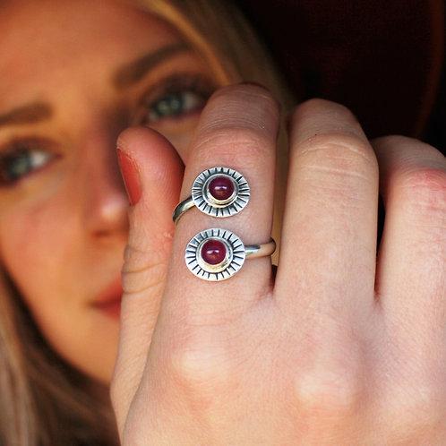 'Bursting Rubies' Adjustable Ring