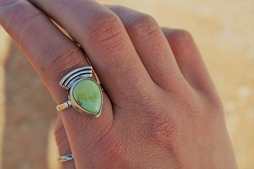 """Sonoran Gold Turquoise """"Arrow"""" Statement Ring- Size 6.5"""