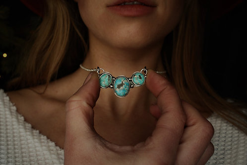 'Three Sisters' Necklace- Turquoise and Silver
