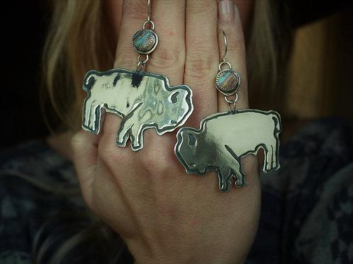 """Big Bison """"Yellowstone"""" Dangle Earrings"""