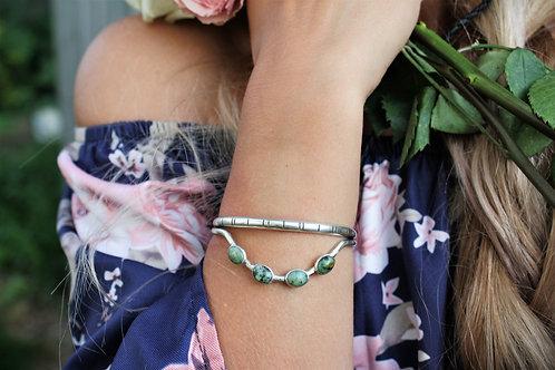 'Caterpillar' Bangle Cuff (African Green Stone)