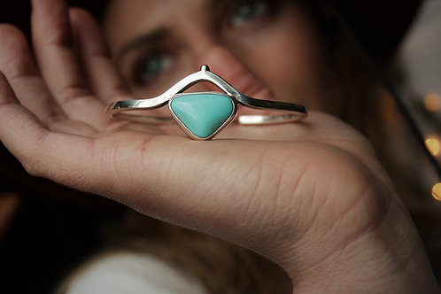 'Water Under the Bridge' Bangle Cuff- Turquoise and Silver