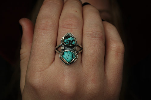 'Not Lost' Raw Turquoise Ring- Size 7