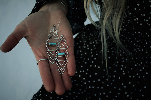 'Mountain Reflection' Earrings- Turquoise and Silver