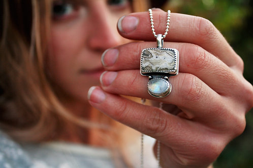 """Agate & Moonstone """"Yellowstone"""" Necklace"""