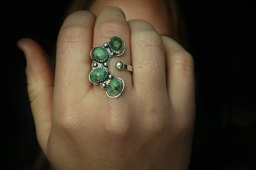 African Turquoise Caterpillar Ring- Adjustable Size 6-10