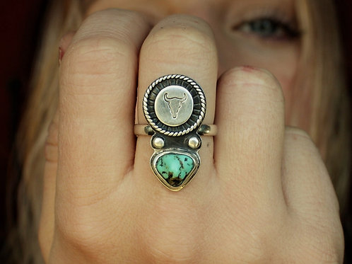 'Turquoise Bull' Statement Ring- Size 7