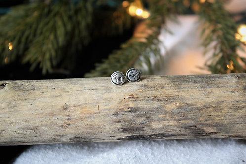 'Mountain' Circle Stud Earrings