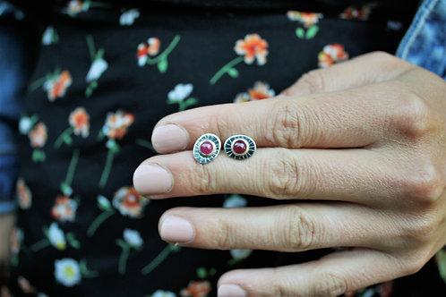 'Ruby Sun Burst' Stud Earrings