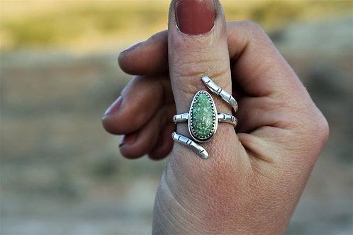 'Rough Green Snake' Adjustable Ring, Size 7-9