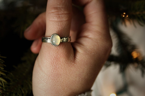 'Mountain Glacier' Opal & Silver Ring- Size 9