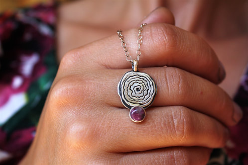'Roses are Pink' Botanical Necklace (Pink Tourmaline)