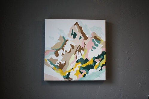 """'Mountain of Color' Original Acrylic Painting- 12X12"""""""